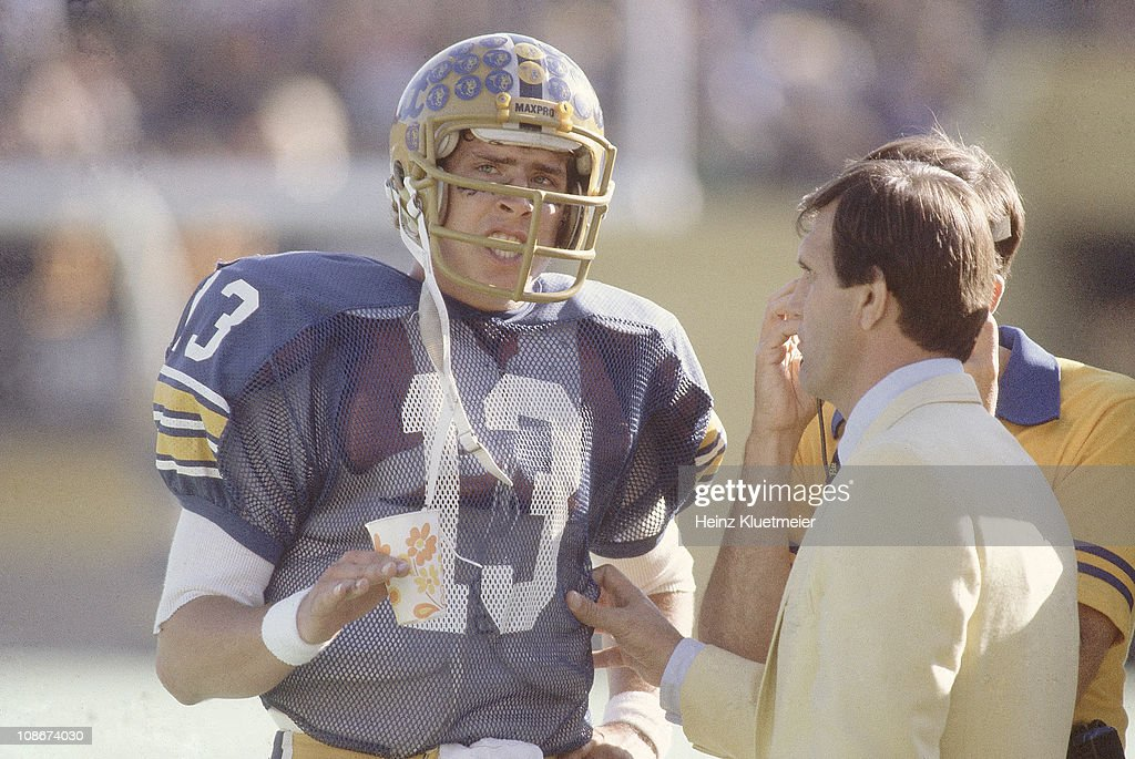 0c58da48b0b University of Pittsburgh vs Florida State University. College Football:  Pittsburgh QB Dan Marino (13) on sidelines talking with coach Jackie  Sherrill during ...