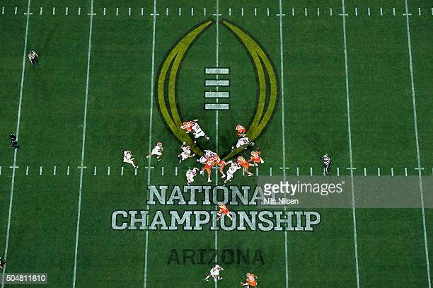 Playoff National Championship Aerial view of miscellaneous action on field during Alabama vs Clemson game at University of Phoenix Stadium Glendale...