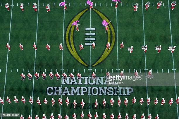 Playoff National Championship Aerial view of Alabama marching band on field before game vs Clemson at University of Phoenix Stadium Glendale AZ...