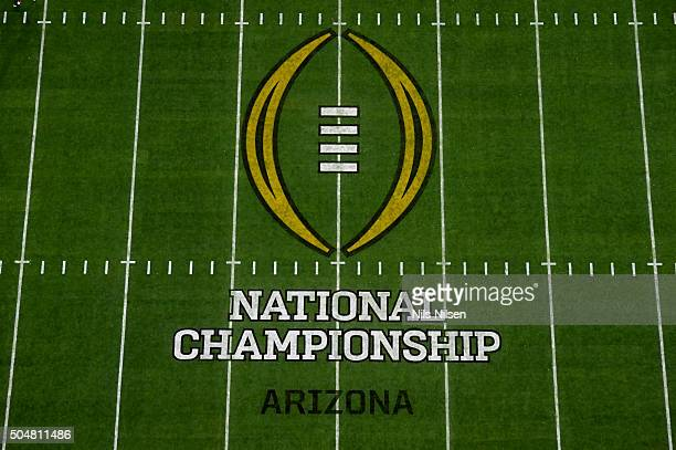 Playoff National Championship Aerial view of CFP national championship game logo on field before Alabama vs Clemson game at University of Phoenix...