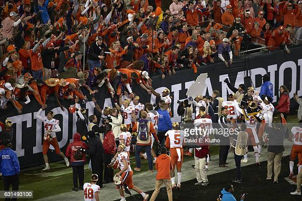 Playoff National Championship Aerial view of Clemson players victorious with fans in stands after winning game vs Alabama at Raymond James Stadium...