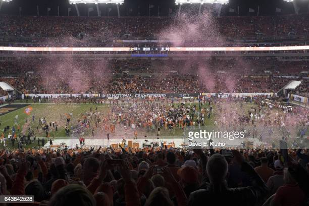 Playoff National Championship Aerial view of Clemson players victorious as confetti falls on field after winning game vs Alabama at Raymond James...