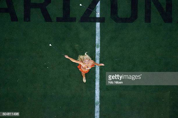 Playoff National Championship Aerial view of member of Clemson marching band on field before game vs Alabama at University of Phoenix Stadium...