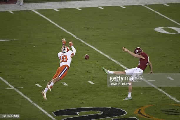 Playoff National Championship Alabama JK Scott in action punting vs Clemson Tanner Muse at Raymond James Stadium Tampa FL CREDIT David E Klutho