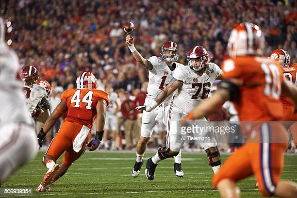 Playoff National Championship Alabama QB Jake Coker in action pass vs Clemson at University of Phoenix Stadium Glendale AZ CREDIT Al Tielemans