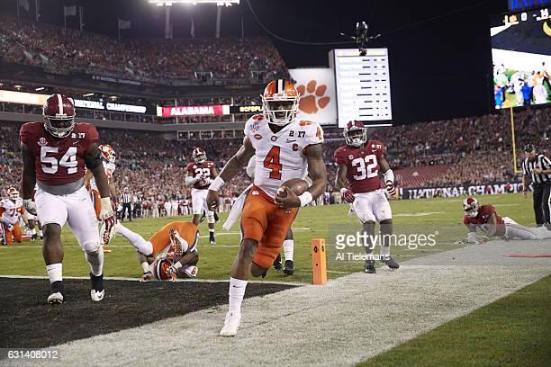 Playoff National Championship Clemson QB Deshaun Watson victorrious after scoring touchdown vs Alabama at Raymond James Stadium Tampa FL CREDIT Al...