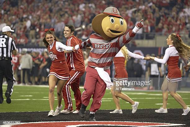 Playoff National Championship Ohio State Buckeyes mascot Brutus Buckeye during game vs Oregon at ATT Stadium Arlington TX CREDIT Al Tielemans
