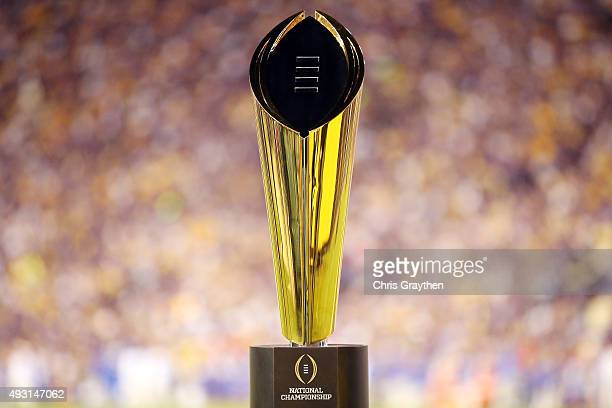 College Football Playoff National Championship Trophy presented by Dr Pepper is seen at Tiger Stadium on October 17, 2015 in Baton Rouge, Louisiana.