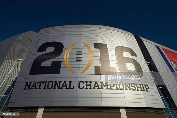 Playoff National Championship View of championship game logo reading 2016 outside of stadium before Clemson vs Alabama game at University of Phoenix...