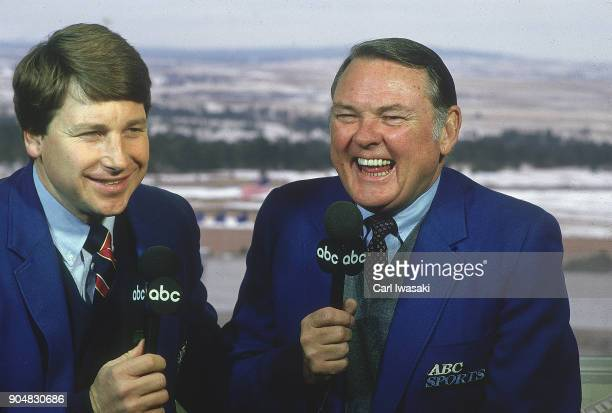 Portrait of ABCTV televsion sports analyst Tim Brant and commentator Keith Jackson during game between Air Force and BYU at Falcon Stadium Colorado...