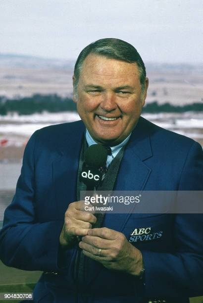 Portrait of ABCTV televsion sports announcer Keith Jackson during game between Air Force and BYU at Falcon Stadium Colorado Springs CO CREDIT Carl...