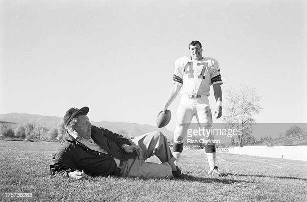 Portrait of Colorado College fullback Steve Sabol posing with head coach Jerry Carle during photo shoot on CC campus Colorado Springs CO CREDIT Rich...