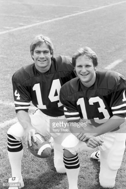 Portrait of Dartmouth QB Jeff Kemp with Dave Shula during photo shoot at Memorial Field Hanover NH CREDIT Tony Triolo