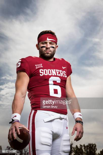 Portrait of Oklahoma QB Baker Mayfield posing during photo shoot on OU campus Norman OK CREDIT Simon Bruty