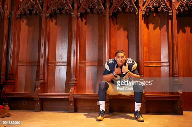 Portrait of Pittsburgh running back James Conner posing during photo shoot at Heinz Memorial Chapel on Pitt campus The 2014 ACC Player of the Year...
