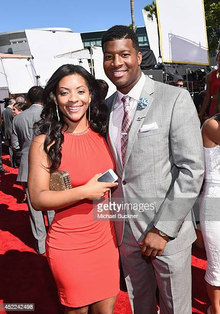 College football quarterback Jameis Winston with girlfriend Breion Allen attends The 2014 ESPYS at Nokia Theatre LA Live on July 16 2014 in Los...