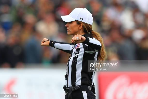 College Football Referee Amanda Sauer during the College Football Game between the Army Black Knights and the Miami Redhawks on October 20 2018 at...