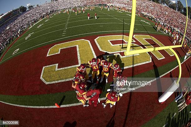 Rose Bowl: Aerial fish eye view of USC defensive huddle in endzone during warmup before game vs Penn State. Pasadena, CA 1/1/2009 CREDIT: Robert Beck