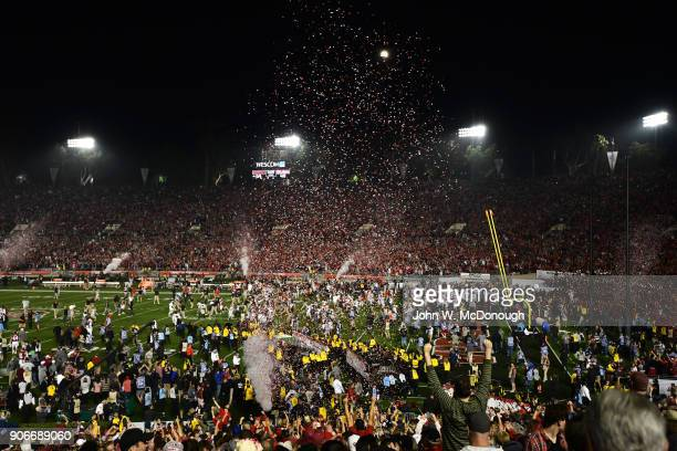 Rose Bowl Aerial view of Georgia players victorious on field with confetti coming down after winning game vs Oklahoma at Rose Bowl Stadium Pasadena...