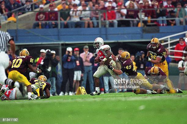College Football Rose Bowl Arizona State Pat Tillman in action making tackle vs Ohio State Pepe Pearson Pasadena CA 1/1/1997