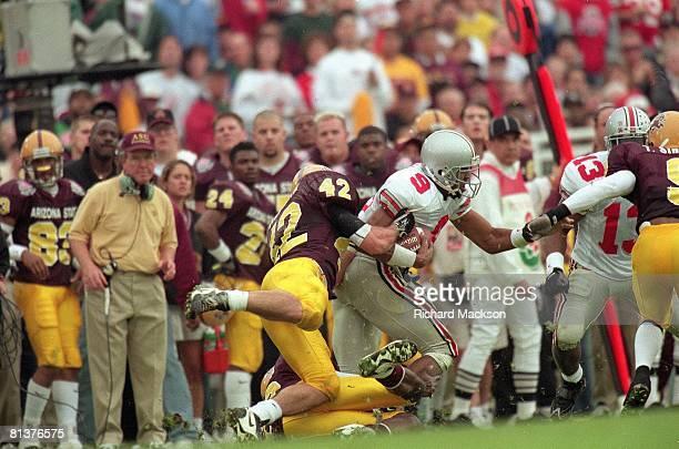 College Football Rose Bowl Arizona State Pat Tillman in action making tackle vs Ohio State David Boston Pasadena CA 1/1/1997