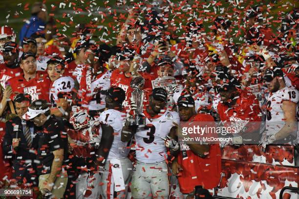 Rose Bowl Georgia Roquan Smith victorious holding The Leishman Trophy after winning game vs Oklahoma at Rose Bowl Stadium Pasadena CA CREDIT John W...