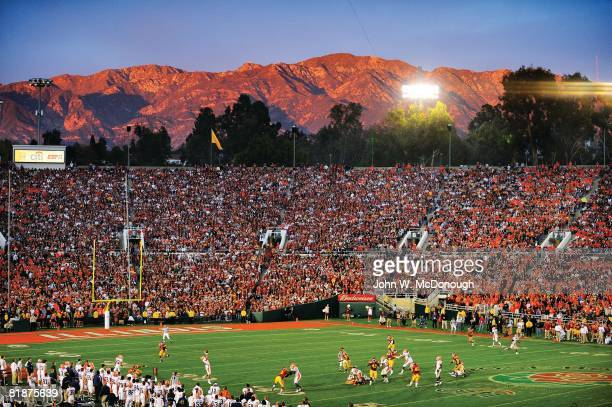 College Football Rose Bowl Scenic view of San Gabriel Mountains of Angeles National Forest behind Rose Bowl stadium during USC vs Illinois game...