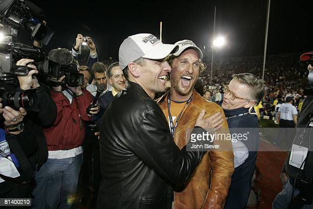 College Football: Rose Bowl, Texas fans cyclist Lance Armstrong and celebrity actor Matthew McConaughey victorious after BCS Championship game vs...