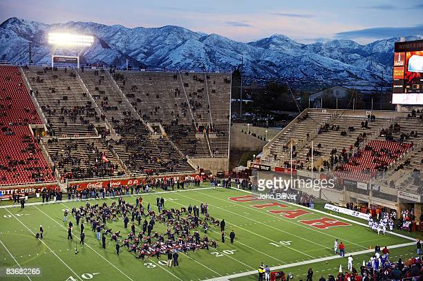 Scenic and overall view of Wasatch Mountains of WasatchCache National Forest behind RiceEccles Stadium before Utah vs Texas Christian University Salt...