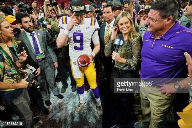 Championship Game: LSU QB Joe Burrow and coach Ed Orgeron during interview on field with CBS sideline reporter Jamie Erdahl after winning game vs...