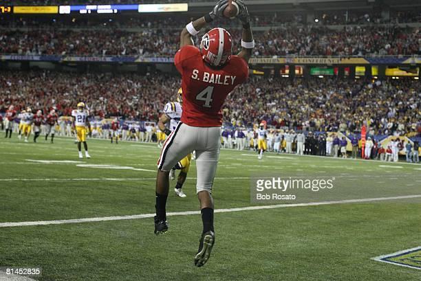 College Football SEC Championship Georgia Sean Bailey in action making touchdown catch vs Louisiana State Atlanta GA 12/3/2005