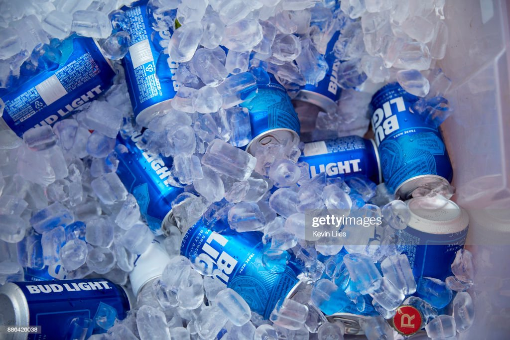 View Of Bud Light Beer Cans On Ice During Tailgate Before Georgia Vs Auburn  Outside Mercedes