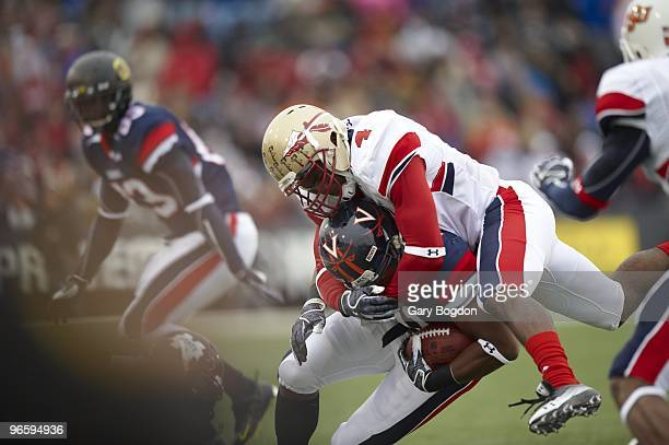 Senior Bowl Team South Myron Rolle in action making tackle vs Team North Rashawn Jackson at LaddPeebles Stadium Mobile AL 1/30/2010 CREDIT Gary Bogdon