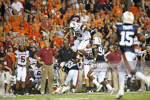 South Carolina Brian Maddox in action leaping vs Auburn Auburn AL 9/25/2010 CREDIT Gary Bogdon