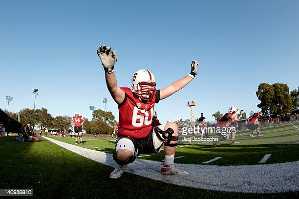 Stanford Brian Moran working out during Monday practice at Elliott Practice Fields Stanford CA CREDIT Jed Jacobsohn