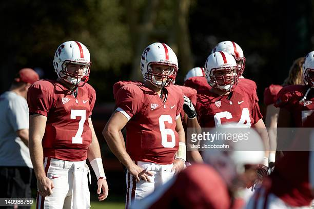Stanford QB Brett Nottingham and QB Josh Nunes during Monday practice at Elliott Practice Fields Stanford CA CREDIT Jed Jacobsohn