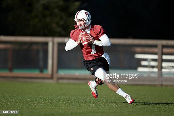 Stanford QB Brett Nottingham in action during Monday practice at Elliott Practice Fields Stanford CA CREDIT Jed Jacobsohn