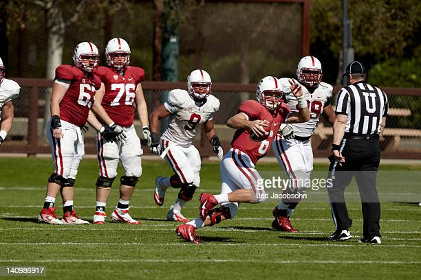 Stanford QB Josh Nunes in action during Monday practice at Elliott Practice Fields Stanford CA CREDIT Jed Jacobsohn