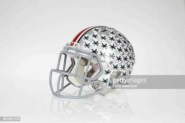 Studio shot of Ohio State helmet during shoot at Time Life Building Equipment New York NY CREDIT Taylor Ballantyne