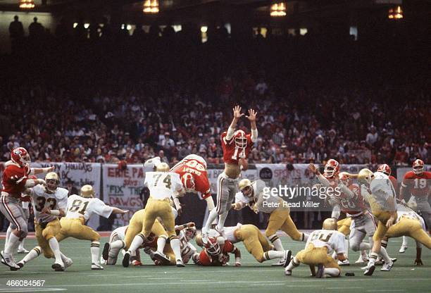 Sugar Bowl Georgia Terry Hoage in action blocking field goal vs Notre Dame Harry Oliver at Louisiana Superdome New Orleans LA CREDIT Peter Read Miller
