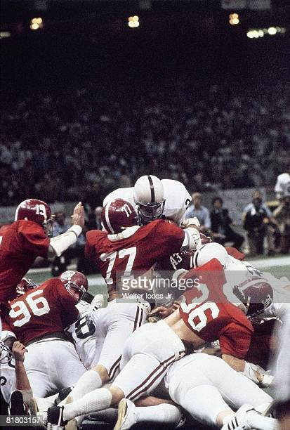 College Football Sugar Bowl Penn State Mike Guman in action attempting 4th down TD vs Alabama Barry Krauss Murray Legg and Rich Wingo during 4th...