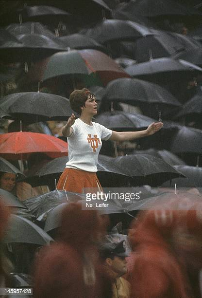 Tennessee cheerleader during game vs Alabama at Neyland Stadium Rain weather Knoxville TN CREDIT Neil Leifer