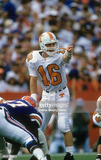 Tennessee QB Peyton Manning calling signals during game vs Florida at Ben Hill Griffin Stadium Gainesville FL CREDIT Patrick MurphyRacey