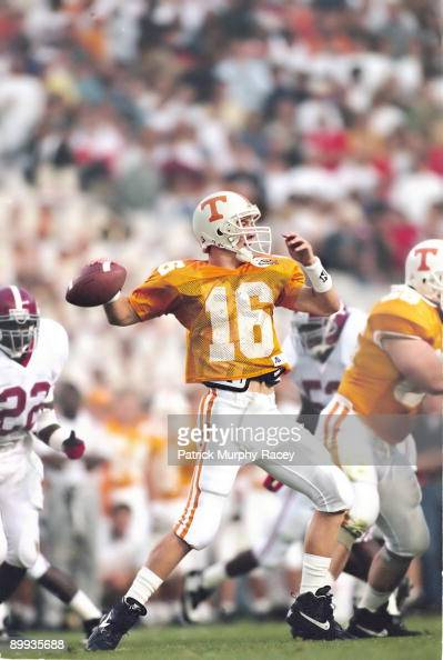 Tennessee QB Peyton Manning in action, making pass vs ...
