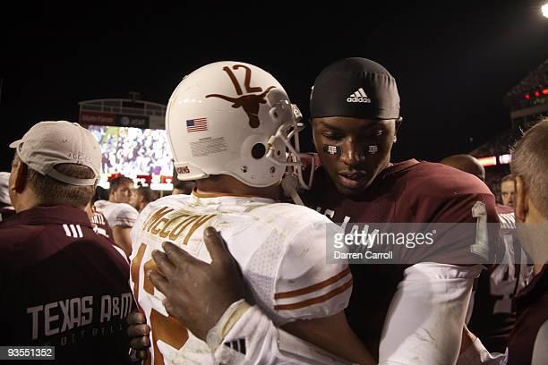 Texas AM QB Jerrod Johnson hugging Texas QB Colt McCoy after game College Station TX CREDIT Darren Carroll