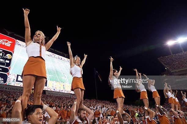 Texas cheerleaders during game vs Notre Dame at Darrell K RoyalTexas Memorial Stadium Austin TX CREDIT Greg Nelson