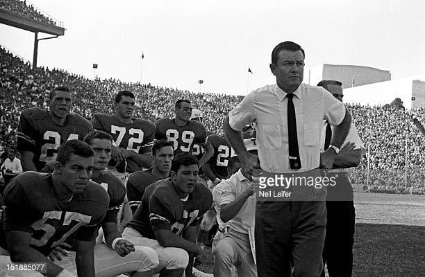 Texas coach Darrell Royal watching team from sidelines during game vs Oklahoma at Cotton Bowl Stadium. Dallas, TX CREDIT: Neil Leifer
