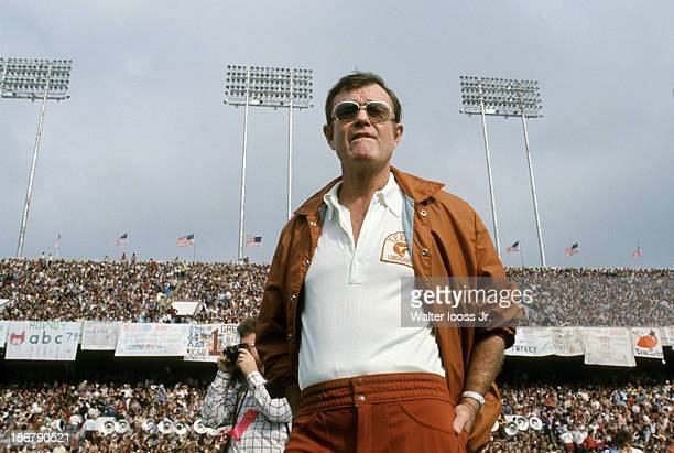 Texas head coach Darrell Royal on sidelines during game vs Texas A&M at Kyle Field. College Station, TX CREDIT: Walter Iooss Jr.