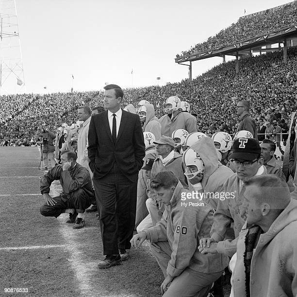 Texas head coach Darrell Royal on sidelines during game vs Mississippi. Dallas, TX 1/1/1962 CREDIT: Hy Peskin