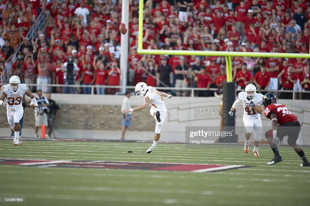 Texas Justin Tucker In Action Kickoff Vs Texas Tech Lubbock Texas News Photo Getty Images